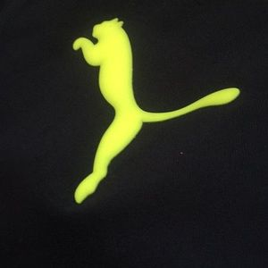 Puma Shirts & Tops - Puma sz M great detail Navy neon yellow shirt nice